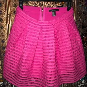 Hot Pink Pleated Mesh Skirt from Forever 21